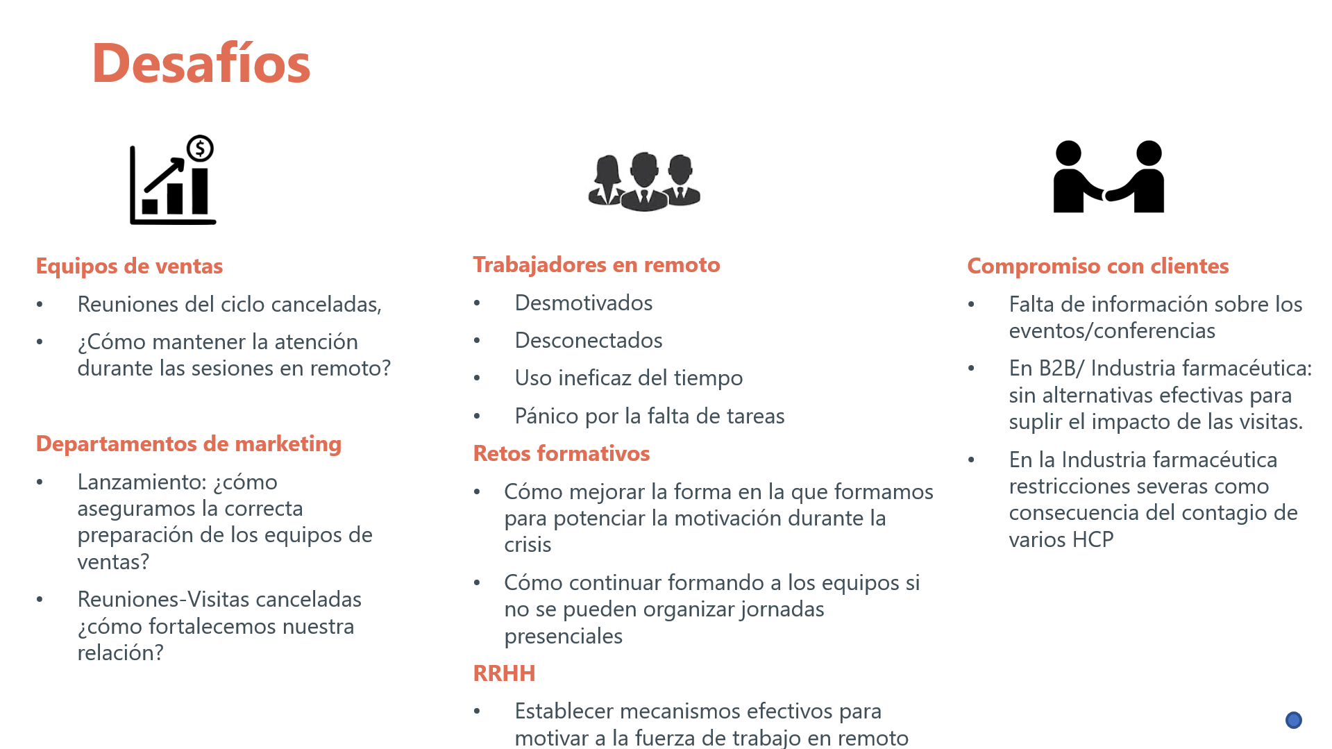 COVID-19 - ventas - remoto - marketing - clientes - compromiso - RRHH - retos - formativos